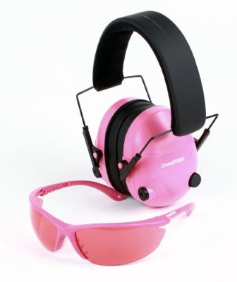 8. Champion Electronic Ear Muffs and Shooting Glasses–Pink Package