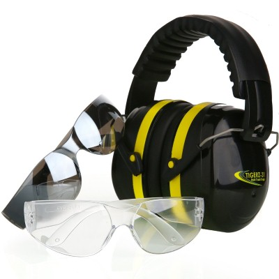 2. Tradesmart Shooting Earmuffs and Anti Fog, Scratch Resistant Safety Glasses Combo Pack
