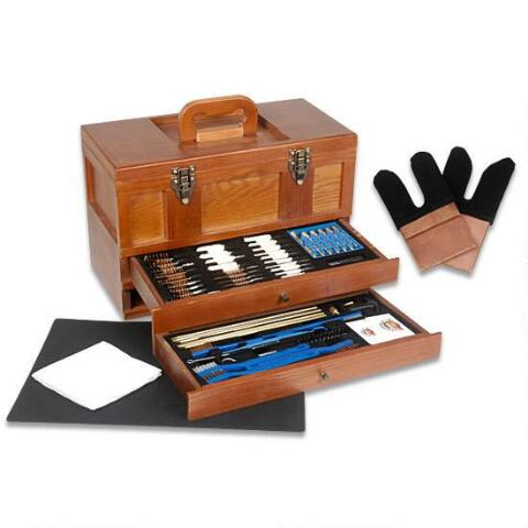 9. Gunmaster Wooden Toolbox with Universal Select Gun Cleaning Kit