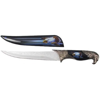 10. Black Collector's Hunting Knife with Eagle Scabbard and Handle