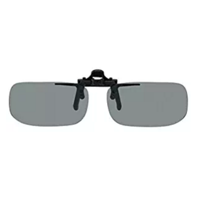 1. Polarized Black Metal Clip on Flip Up Grey/Gray Sunglass Lenses, True Rectangle, 51mm Wide x 29mm High, 113mm Wide with Bridge