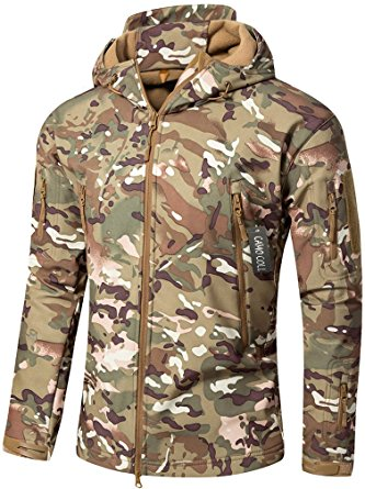 13. Camo Coll Men's Outdoor Soft Shell Hooded Tactical Jacket