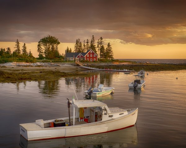 Fishing-Boat- in- Front- of Red House