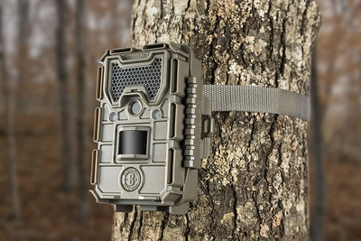 Bushnell 16MP Trophy Cam HD Essential E3 Trail Camera mounted on tree