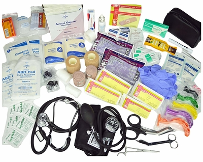 All of the supplies included with Lightning X First Responder First Aid Kit Backpack