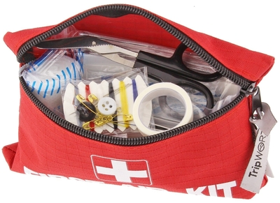 Tripworthy Travel Size First Aid Kit opened up to show contents inside